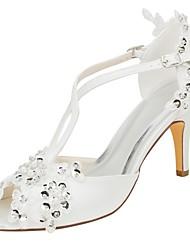 abordables -Femme Chaussures Satin Elastique Eté Escarpin Basique Chaussures de mariage Talon Aiguille Bout ouvert Paillette / Appliques Ivoire