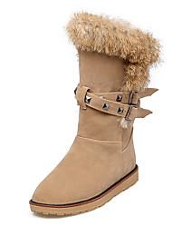 Недорогие -Жен. Обувь Нубук Зима Осень Зимние сапоги Ботинки На плоской подошве Круглый носок Сапоги до середины икры Пух для Повседневные Для
