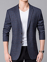 cheap -Men's Casual/Daily Simple Winter Fall Blazer,Solid Shirt Collar Long Sleeve Regular Cotton Linen Polyester Oversized
