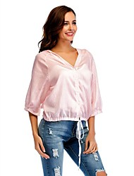 voordelige -Dames Overhemd, Werk Gestreept V-hals Lantern Sleeve Polyester