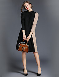 cheap -Women's Going out Vintage Casual A Line Midi Dress,Color Block Stand Long Sleeves