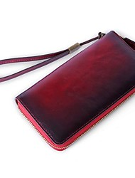 cheap -Unisex Bags Cowhide Wallet Zipper for Formal / Office & Career Dark Green / Brown / Wine