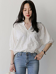 cheap -Women's Vintage Chic & Modern Cotton Loose Blouse - Solid Colored V Neck