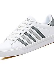 abordables -Mujer Zapatos PU Primavera Otoño Confort Zapatillas de deporte Tacón Plano Dedo redondo para Casual Gris Negro/blanco Blanco y Verde
