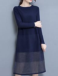 Недорогие -Для женщин На каждый день Простой Трикотаж Платье Однотонный,Круглый вырез Средней длины Длинные рукава Полиэстер Осень Со стандартной