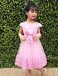 cheap -Girl's Daily Going out Flower/Floral Dress,Polyester Summer Short Sleeves Cute Princess Blushing Pink White