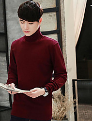 cheap -Men's Sports Going out Long Pullover,Solid Turtleneck Long Sleeves Polyester Winter Fall Medium Micro-elastic
