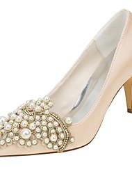 preiswerte -Damen Schuhe Stretch - Satin Frühling Herbst Pumps Hochzeit Schuhe Stöckelabsatz Spitze Zehe Perle Applikationen für Kleid Party &