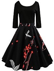 cheap -Women's Holiday Vintage Street chic Cotton Sheath Dress - Floral Animal Black High Waist