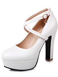 Недорогие -Жен. Обувь Полиуретан Весна Осень Удобная обувь Оригинальная обувь Обувь на каблуках На толстом каблуке Круглый носок Пряжки для Свадьба