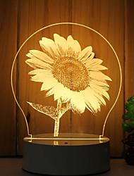 baratos -1 conjunto de luz de noite de humor 3d mão sensível dimmable usb powered presente lâmpada girassol