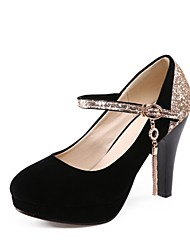 cheap -Women's Shoes Glitter / Customized Materials / Leatherette Winter Novelty Heels High Heel Round Toe Black / Red / Dress