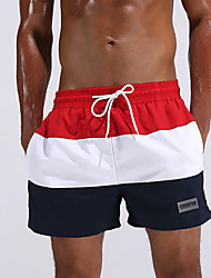 cheap -Men's Striped Color Block Sexy Fashion Bottoms Swimwear,Polyester Red Green
