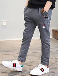 abordables -Pantalones Chico Un Color Simple Algodón Primavera Otoño Activo Negro Gris