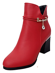 cheap -Women's Shoes PU Spring Fall Comfort Boots Chunky Heel for Outdoor Red Black