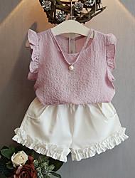 Недорогие -Девочки Набор одежды Повседневные Хлопок Бамбуковая ткань Однотонный Весна Без рукавов На каждый день Синий Розовый