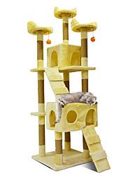 abordables -Gato Casas Madera Scratch Art Mascotas Forro Un Color Moda Salto Multi capa Suave Doblez Regalo novia Profesional Multifuncional Beige