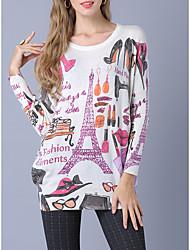 abordables -Femme Géométrique Quotidien Sortie Décontracté Chandail Pullover, Manches Longues Col Arrondi Hiver Automne