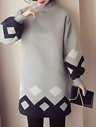 abordables -Femme Tunique Robe Couleur Pleine Taille Haute Col Roulé