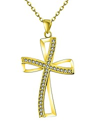 cheap -Women's Cubic Zirconia Pendant Necklace  -  Rose Gold Cross Classic Gold, Rose Gold Necklace One-piece Suit For Gift, Daily