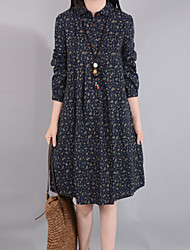 cheap -Women's Daily Going out Casual Chinoiserie Loose Shirt Dress,Print Shirt Collar Knee-length Long Sleeve Cotton Linen Spring Mid Rise