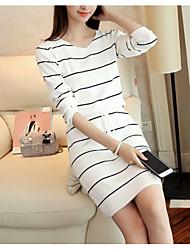 cheap -Women's Basic Sheath Dress - Striped, Lace up