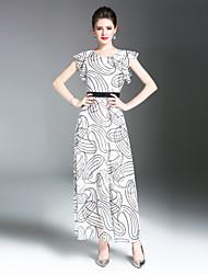 baratos -Mulheres balanço Vestido Geométrica Longo