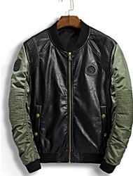 cheap -Men's Leather Jacket - Color Block, Oversized Stand / Long Sleeve