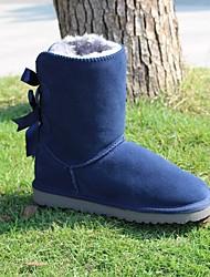 Недорогие -Жен. Обувь Кожа Зима Зимние сапоги Ботинки На плоской подошве Круглый носок для Бежевый Серый Синий