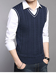 preiswerte -Herren Kurz Pullover-Alltag Freizeit Solide V-Ausschnitt Langarm Polyester Winter Herbst Undurchsichtig Mikro-elastisch