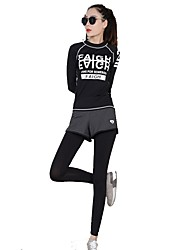 abordables -Mujer Camiseta de running con pantalones - Negro Deportes Sets de Prendas Manga Larga Ropa de Deporte Secado rápido, Transpirabilidad