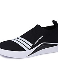cheap -Men's Light Soles Tulle / PU(Polyurethane) Spring / Summer Comfort Loafers & Slip-Ons Walking Shoes Black / Black / White