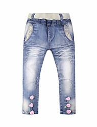 abordables -Pantalones Chica Un Color Todas las Temporadas Azul Piscina