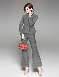 baratos -Mulheres Trabalho Vintage Conjunto Listrado Calça Colarinho de Camisa