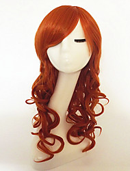 cheap -Synthetic Wig Curly / Deep Wave Asymmetrical Haircut / With Bangs Synthetic Hair Natural Hairline Red Wig Women's Long Capless