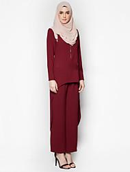 baratos -Moda Abaya Vestido árabe Mulheres Festival / Celebração Trajes da Noite das Bruxas Cinzento Azul Vermelho Sólido Étnico