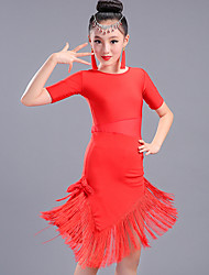 cheap -Latin Dance Dresses Performance Spandex Tassel Half Sleeves High Dress