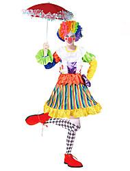 Недорогие -Клоун / Цирк Косплэй Kостюмы / Костюм для вечеринки Жен. Карнавал Фестиваль / праздник Костюмы на Хэллоуин Цвет радуги Контрастных цветов Вечеринка / Активный