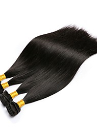 cheap -Brazilian Hair Straight Natural Color Hair Weaves 4 Bundles 8-28inch Human Hair Weaves Natural Black Women's