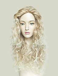 economico -Parrucche sintetiche Kinky Curly Attaccatura dei capelli naturale Taglio scalato Senza tappo Biondo Parrucca di celebrità Parrucca per