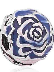 baratos -Jóias DIY 1 pçs Contas Esmalte Liga Azul Azul Real Flor Bead 0.5 cm faça você mesmo Colar Pulseiras