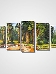 cheap -Stretched Canvas Print Five Panels Canvas Horizontal Print Wall Decor Home Decoration