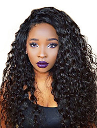 cheap -Human Hair Mongolian Lace Wig Curly Kinky Curly With Baby Hair Lace Front Natural Hairline 250% Density Natural Black Medium Long