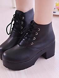 abordables -Mujer Zapatos PU Otoño Invierno Botas de Combate Confort Botas Tacón Cuadrado Botines / Hasta el Tobillo para Blanco Negro
