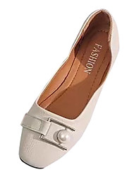 cheap -Women's Shoes PU Spring Summer Comfort Flats Flat Heel Round Toe for Casual Beige Brown