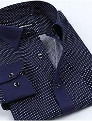 abordables -Hombre Algodón Camisa A Lunares / Manga Larga