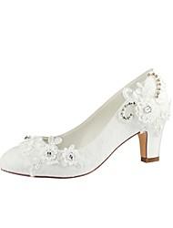 abordables -Femme Chaussures Satin Elastique Printemps / Automne Escarpin Basique Chaussures de mariage Talon Bottier Bout rond Perle Ivoire