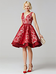 cheap -A-Line V-neck Knee Length Lace Satin Bridesmaid Dress with Sash / Ribbon by LAN TING BRIDE®