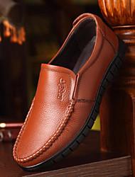 靴 レザー 春 秋 コンフォートシューズ ローファー&スリップアドオン のために カジュアル ブラック イエロー Brown