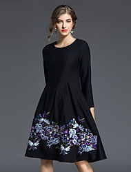 cheap -Women's Daily Going out Casual Street chic A Line Sheath DressJacquard Round Neck Knee-length 3/4 Sleeve Cotton Polyester Spring Mid Rise